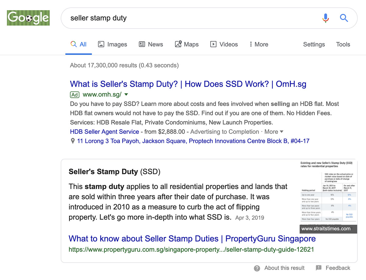 Seller stamp duty - Google featured snippet