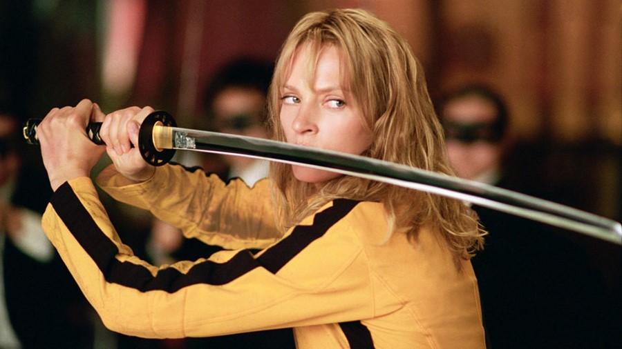 Uma Thurman wielding a samurai sword in Kill Bill