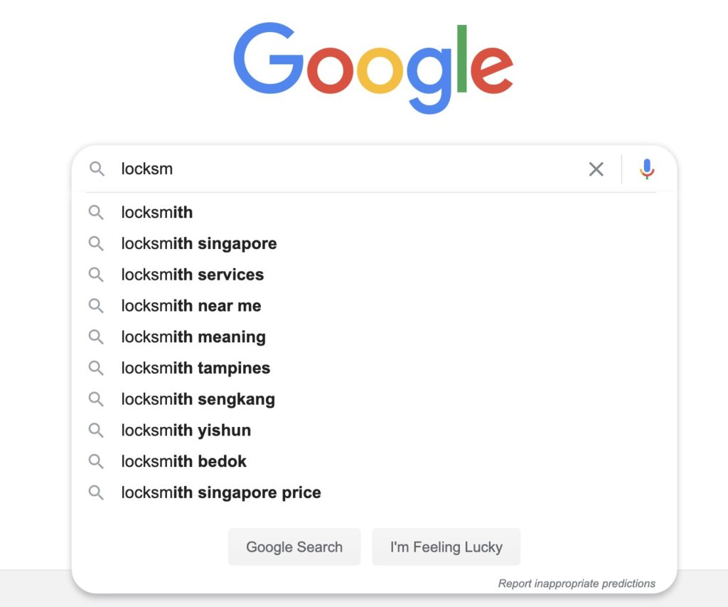 "Screenshot of popular keywords when you Google the word ""locksmith""."