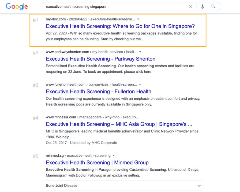 "Screenshot of MyDoc article ranking number one for ""executive health screening singapore"" keyword"