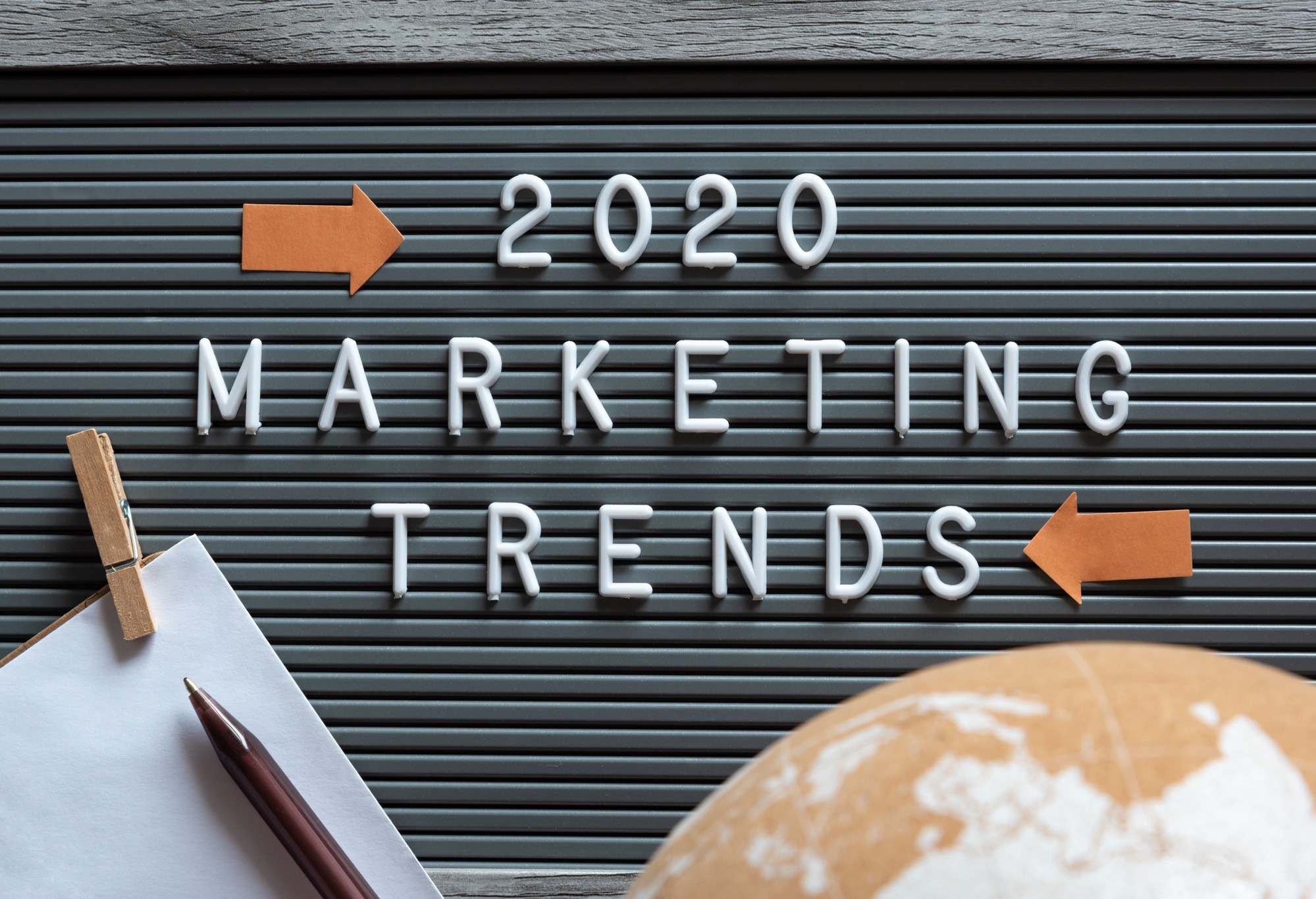 2020 digital marketing trends pin-up board