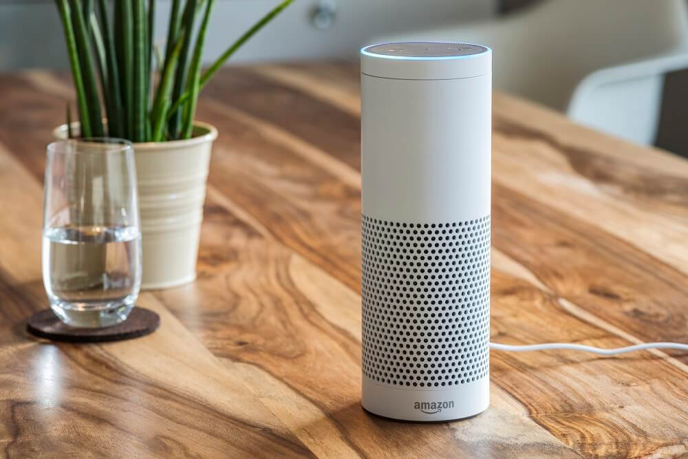 Amazon Alexa, a virtual assistant on the table