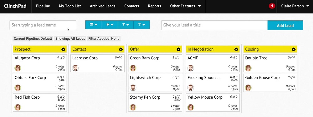 Screenshot of ClinchPad, one of the sales tools