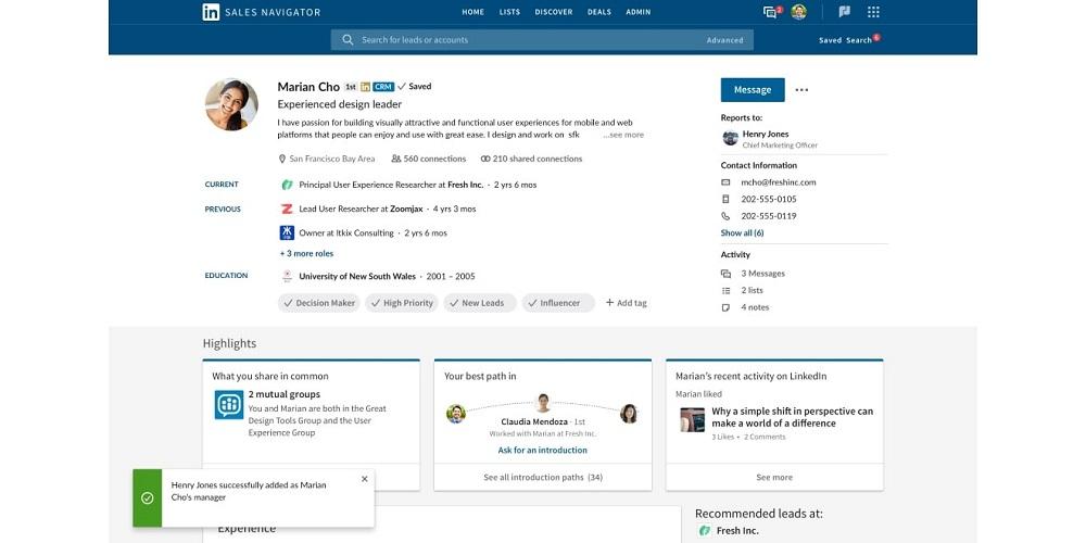 A screenshot of LinkedIn Sales Navigator