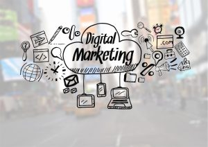 Graphic of tools required for a digital marketing career on an image background