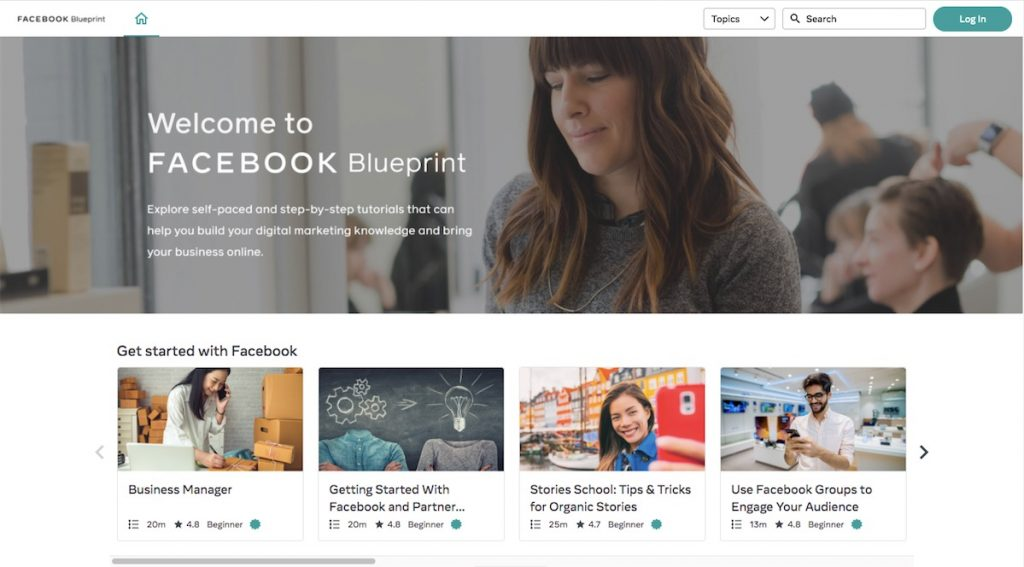 Screenshot of Facebook Blueprint, which provides digital marketing courses you can take in Singapore